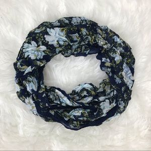 J. Jill Blue Floral Soft Infinity Circle Scarf